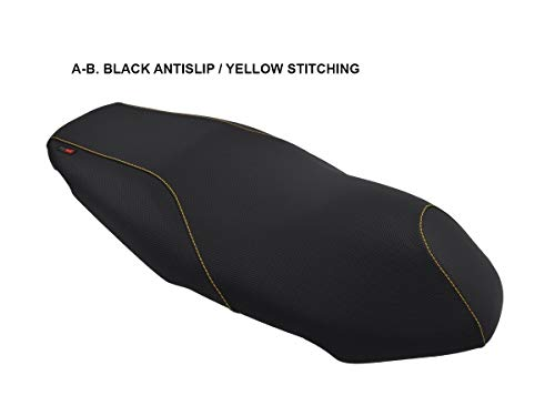 Fodera da sella per Kymco Agility 50/125/150/200 '08-'15 nero-cuciture gialle