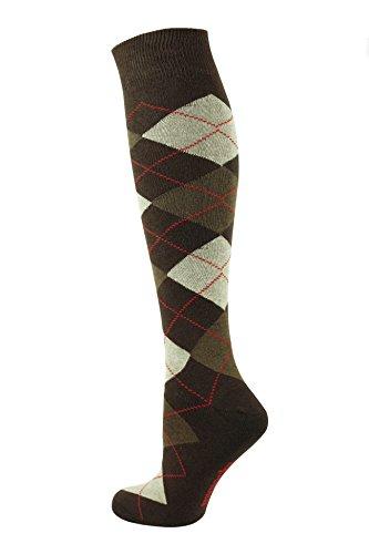 Mysocks Unisex Kniestrümpfe Argyle Socken braun Sahne rote Linie