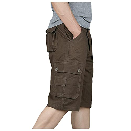 Plus Size Cargo Shorts for Men, Casual Lightweight Multi Pockets Short Classic Relaxed Fit Stretch Outdoors Shorts Coffee