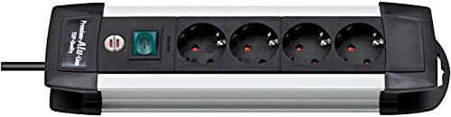 Brennenstuhl Premium-Alu-Line, Steckdosenleiste 4-fach - Steckerleiste aus hochwertigem Aluminium (mit Schalter und 1,8m Kabel, Made in Germany) silber/schwarz