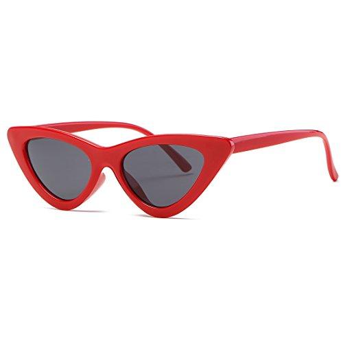 kimorn Occhi Di Gatto Occhiali Da Sole Per Donna Clout Goggles Cerniere In Metallo Bicchieri K0566 (Rosso&Nero)