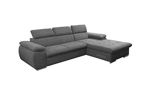 mb-moebel Ecksofa mit Schlaffunktion Eckcouch mit Bettkasten Sofa Couch L-Form Polsterecke NILUX (Dunkelgrau, Ecksofa Rechts)