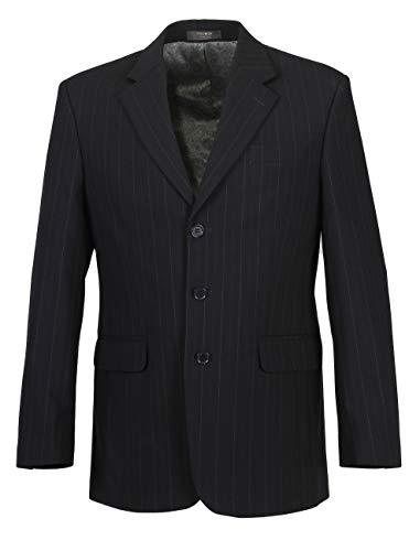 Herren Sakko DREI-Knopf klassisch Nadelstreifen Reverskragen Blazer Jackett Anzug Regular Fit bequem, Größe 50, dunkelblau