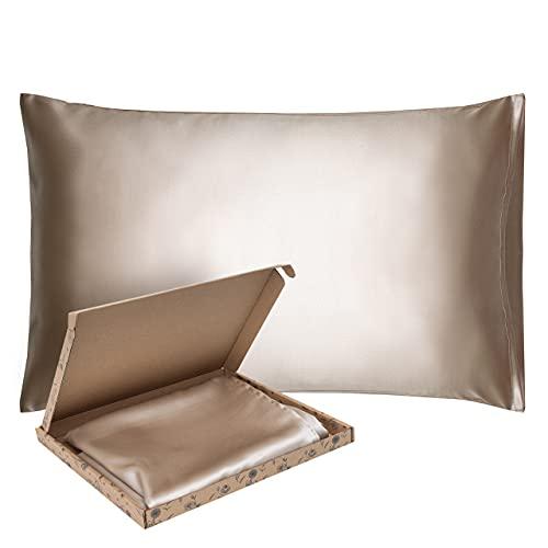 Funda de almohada de seda Glow4More   40 x 60   Funda de almohada cosida en un pliegue   Funda de almohada antiedad   Funda de almohada regulable de temperatura   Champagne