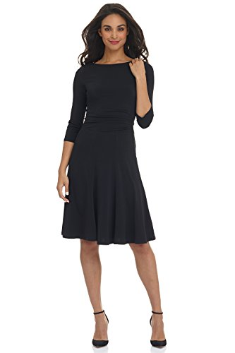 Rekucci Women's Flippy Fit N' Flare Dress with 3/4 Sleeves (14,Black)