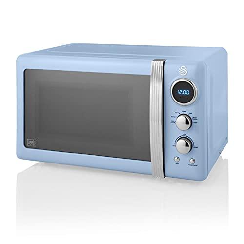 Swan Retro Digital Microwave Blue, 20 L, 800 W, 6 Power Levels Including Defrost Setting, SM22030BLN