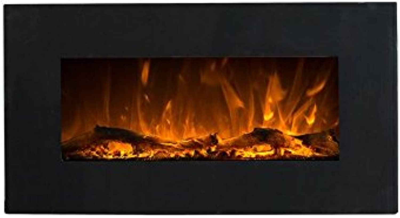 Elektrokamin Glow Fire Neptun, Wandkamin elektrisch (1500 Watt Heizlüfter, Farbige LED-Beleuchtung; Glasscheibe, Dimmer, Fernbedienung) schwarz (Flammen mit Holzdekoration)