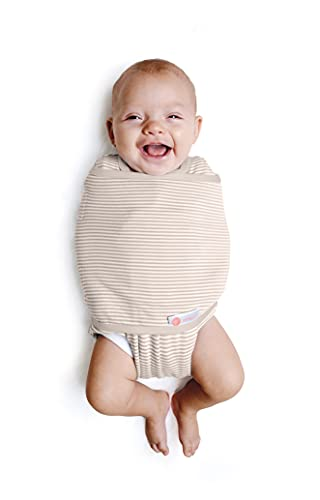 embé 2-Way Starter Swaddle Blanket, 6-14 lbs, Diaper Change w/o Unswaddling, Legs in and Out Design, Warm Up or Cool Down 100% Cotton, 0-3 Months (Organic Oatmeal Stripe)