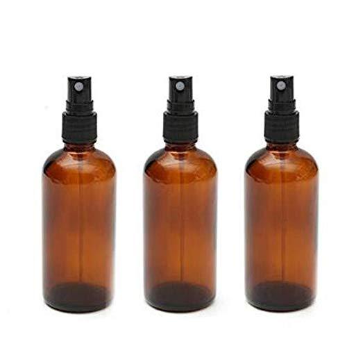 3pcs 100ml vide rechargeable bouteille de vaporisateur en verre ambré avec pulvérisateur de brume fine cosmétique maquillage bouteille soins de la peau outil de maquillage eau voyage parfum liquide