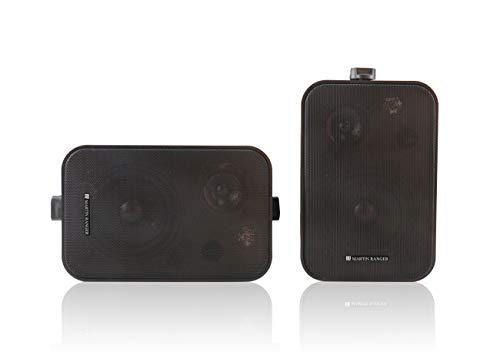 Wall Mount TWS Home Speaker System Dual Active BT Speakers, Waterproof Indoor/Outdoor/Inwall Speakers 60WATTS RMS Total Power Output, Black-Pairs