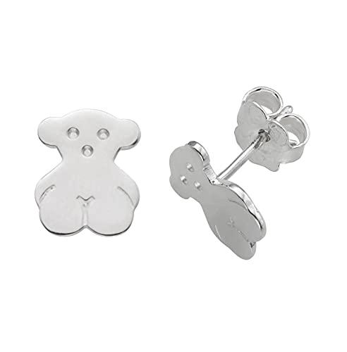 TOUS Bear - Pendientes de Botón con Silueta de Oso en Plata de Primera Ley - Tamaño: 0,65 x 0,85 cm