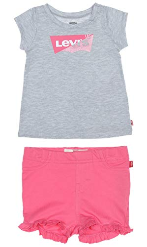 Levi's Kids Baby - Mädchen Shorts Lvg Graphic Tee Knit Short Set Gray Heather 3...