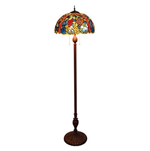ZHANGDA Lámpara de pie de Lectura Estilo Tiffany Vintage, lámpara de pie de Lectura con Pantalla de vidrieras de UVA para Dormitorio, Sala de Estar, lámpara de pie, 64 Pulgadas de Alto (C)