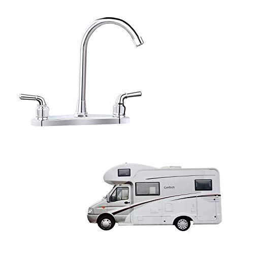 "RV Non-metallic Kitchen Faucet Two Handle-8"" Main Body-High Arch-360 Swivel Replace For Motorhomes, Travel Trailers,Campers (8""HIGH ARCH)"