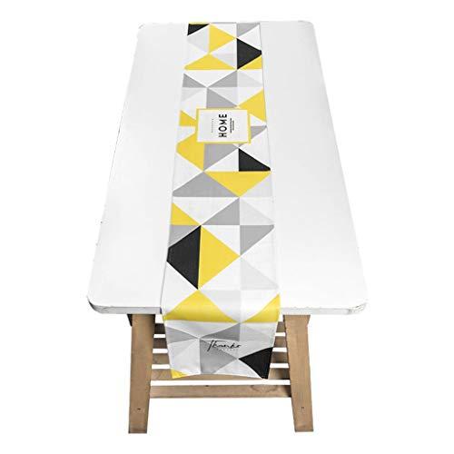 Chemin de table Chemin de table en tissu mélangé décor jaune et noir (table basse/meuble de télévision/couvre-chaussures) Linge de table (Size : 30 * 220cm)