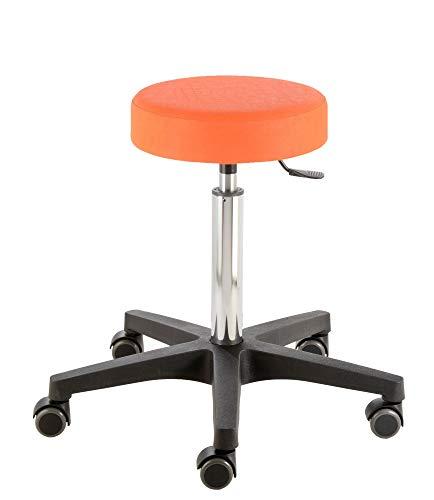 Prova Nova GmbH Rollhocker mit Rundsitz Comfort 4400, Sitzhöhe ca. 54-73 cm, Gasfedersäule, Rollen/Bodengleiter:weiche Radbandage, Polsterdekor:Dekor orange