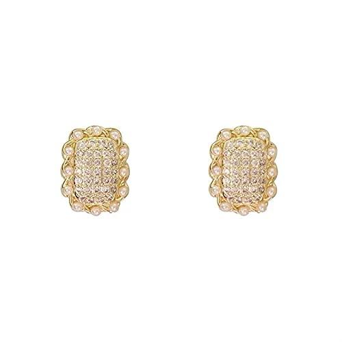 XXXXW Pendientes Creativity Nuevo Micro Inlay Pearl Zircon Geometric Pendientes de Oro Cuadrado de Oro para Mujer Joyería de Moda Girls Accesorios de Lujo Lindos Aretes