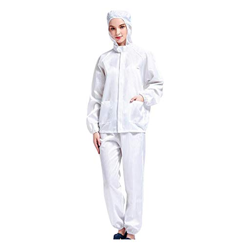 Zoilmxmen Non-Disposable Adult Hooded Split Protective Clothing Isolation Suit Anti-Dust Non-Porous Clothing Set White