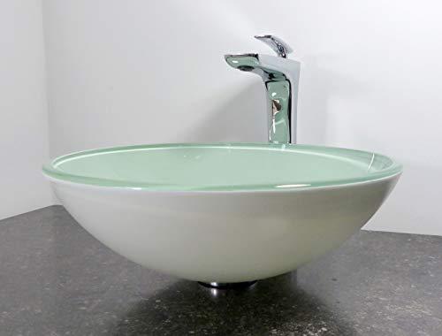 Nero rundes Aufsatz Glas Waschbecken Waschtisch Waschschale weiß