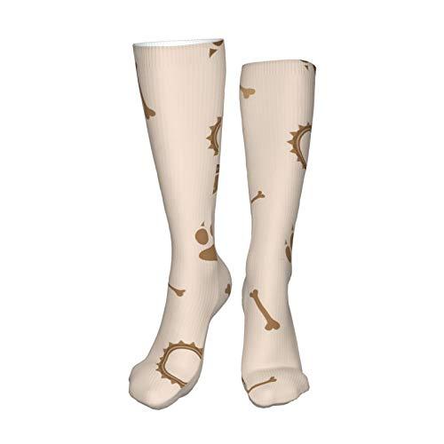 ZVEZVI Calcetines para hombres y mujeres, patrón sin costuras con pata de perro, pelota de juego y cuello, calcetín de bota de 50 cm para correr, deportes, al aire libre