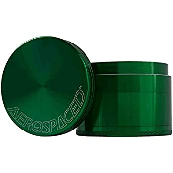 Aerospaced 4 Piece Herb Grinder With a Pollen Catcher Metal 1.7 Inch Green Pick Tool Included