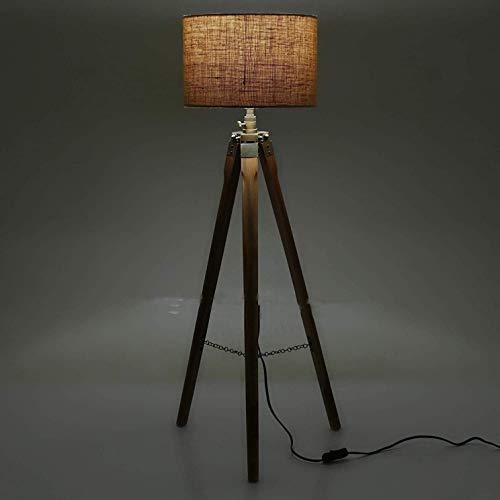 Lámpara de pie con trípode de color marrón náutico para salas de estar, combina con la decoración moderna de mediados de siglo o de casa de campo con esta luz de pie vintage (sin sombra)