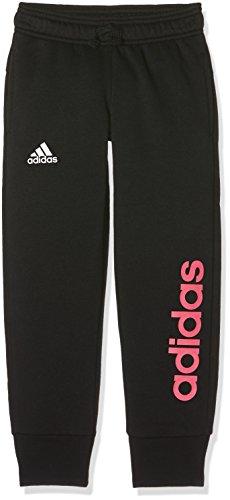 adidas Mädchen Linear Pant Closed Hem Jogginghose, Black/Real pink s18, 164