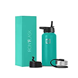 Iron Flask Sports Water Bottle, aquamarine color. Great for both hot and cold drinks, use it while backpacking.
