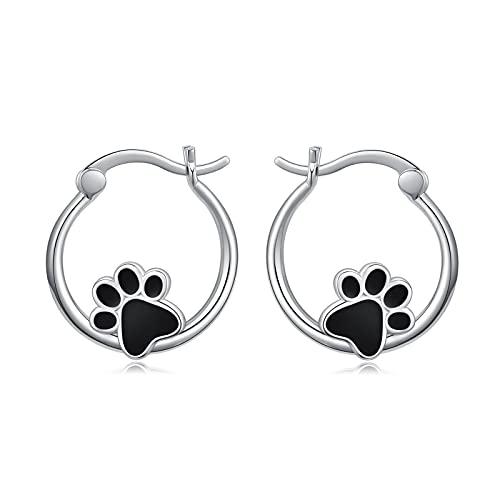 Pendientes de aro para niña y perro, plata 925, diseño de huellas de perro, pequeños pendientes...