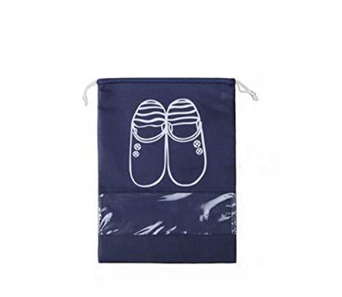 MS.REIA Schuhbeutel 10 STÜCKE Reise Schuhe Aufbewahrungstasche Transparent Fenster High Heel Kordelzug Wasserdichtes Material Marineblau M, L