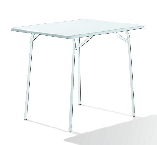 Sieger 110/W Campingtisch mit mecalit-Pro-Platte 80 x 60 cm, Stahlrohrgestell weiß, Tischplatte uniweiß