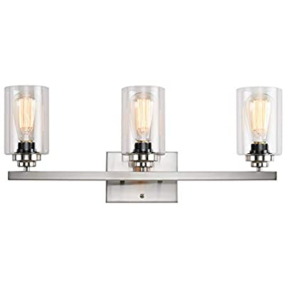 Wall Sconce 3 Lights Vanity Lighting Fixture for Bathroom Industrial Vintage Light with Clear Glasses, Nickel
