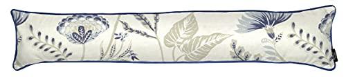 Burlete de tela de lujo con estampado floral – Tapón perfecto para todas las puertas y ventanas – diseño de flores en polvo azul – gama Florence – McAlister Textiles.