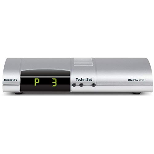 TechniSat Digipal DAB+ DVB-T2 Receiver (mit DAB+ Radio, PVR Aufnahmefunktion, HDTV, kartenloses Irdeto-Zugangssystem für freenet TV, App-Steuerung, Smart TV, 12 Volt) silber