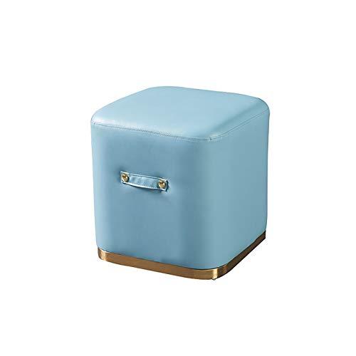 Dormitorio Silla De Cuero Otomana Asiento Taburete Tapizado Escabel Reposapiés Cubo Puff Cuadrado Para La Sala De Estar, Resistente Al Agua |,C