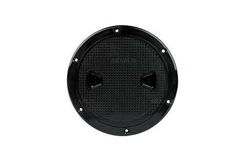 SEAFLO 4' - 8' Black Circular Non Slip Inspection Hatch w/Detachable Cover (8')