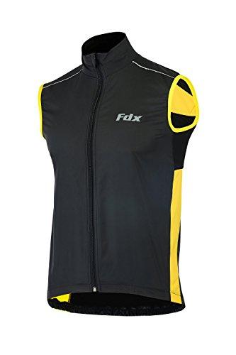 FDX, gilet da ciclismo da uomo, impermeabile, antivento, pieghevole, traspirante Black/yellow X-Large