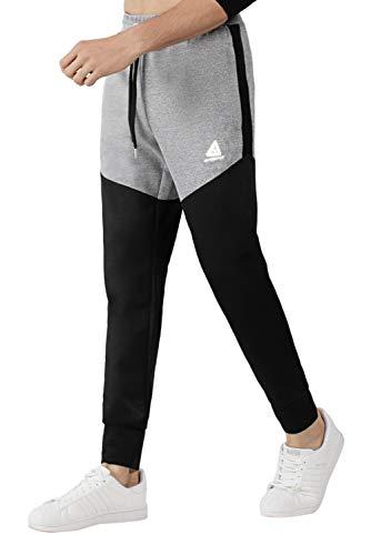 Extreme Pop Uomo Scuba Joggers Skinny Running Pants Pantaloni Sportivi da Allenamento Tuta da Jogging Slim Fit Pantaloni Stretch Gym Training Pantaloni della Tuta Black Charcoal (L, Nero)