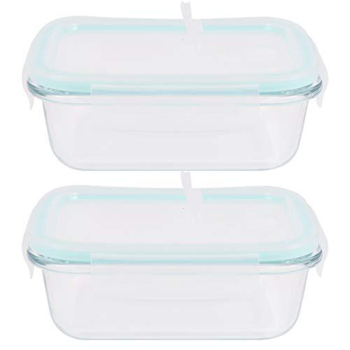 OSALADI 2 Pcs Bento Box Pratique Sûr Pratique Déjeuner Conteneurs Bols en Verre Résistant à La Chaleur Bols pour Pique-Nique en Plein Air de Stockage des Aliments