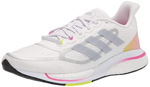 adidas Women's Supernova + Running Shoes, White/Halo Silver/Screaming Pink, 8