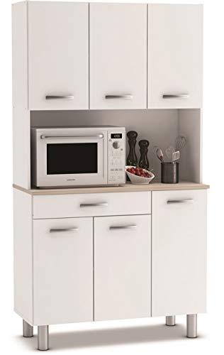 PEGANE Buffet de Cuisine/Meuble de Cuisine Coloris Acacia/Blanc Mat - 101 x 185,3 x 42,3 cm