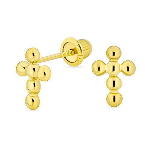 Diminutos aretes de cruz de burbujas cristiano cristiano religioso minimalista para mujeres adolescentes real 14K oro amarillo Saftey Screwback