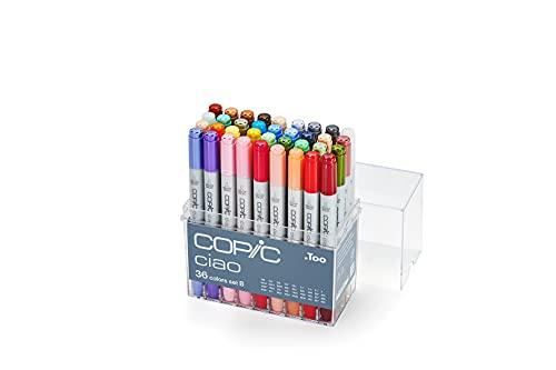 COPIC Ciao Marker Set B mit 36 Farben, Allround Layoutmarker, alkoholbasiert, im praktischen Acryl-Display zur Aufbewahrung und einfachen Entnahme