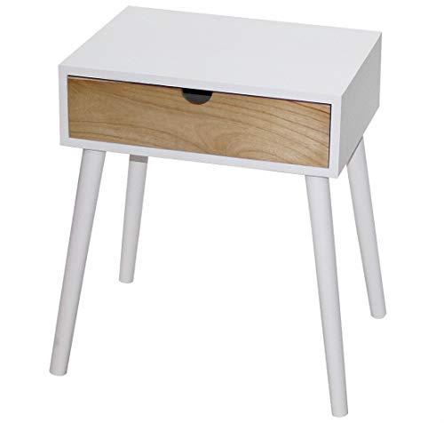 KMH® - Mesa auxiliar/mesita de noche Star blanco/natural con cajón en diseño escandinavo moderno (#800078)