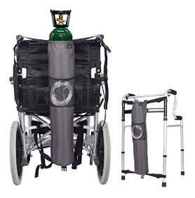 """Sauerstoff Rucksack Rollstuhltasche Halterung Carrier Portable Oxygen Tank Tragetasche für Walker, Rollator, passt\""""D\"""" und\""""E Zylinder Flasche (Grau)"""