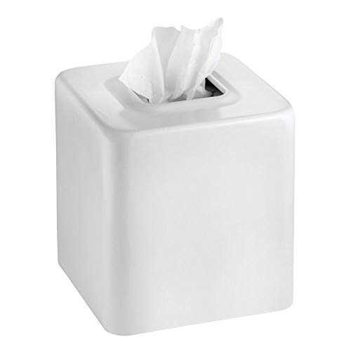 mDesign Modern Square Metal Paper Facial Tissue Box Cover Holder for Bathroom Vanity Countertops, Bedroom Dressers, Night Stands, Desks and Tables - White