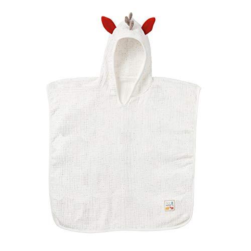 Fehn 056457 Poncho Zebra fehnNATUR – Badeponcho aus Bio-Baumwolle in süßem Zebra-Design für Babys und Kleinkinder ab 12+ Monaten – Größe: 55 x 110 cm