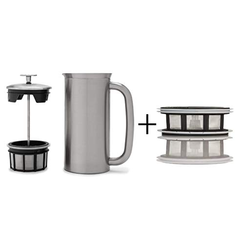 ESPRO P7 Double Walled Stainless Steel Vacuum Insulated Coffee French Press + Tea Micro-Filter, 18 Ounce, Brushed Stainless Steel