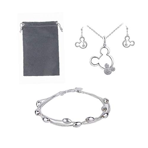 Jewellery Sets for Women,925 Sterling Silver Women's Bead Bracelet & Cute Mouse Necklace and Earring Set with Storage Bag