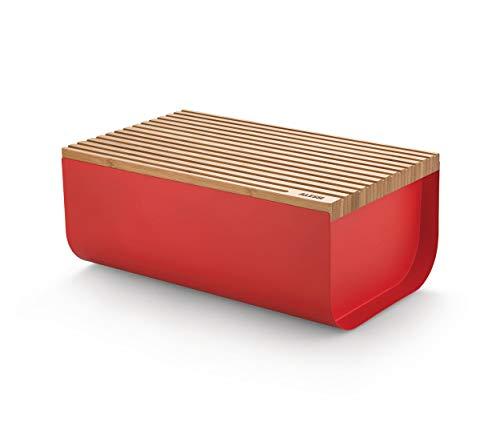 Alessi Mattina BG03 R - Brotkasten aus Edelstahl mit Epoxidharz und Bambusholz, Rot